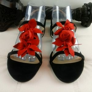 Talbots red rose and black suede leather sandals.
